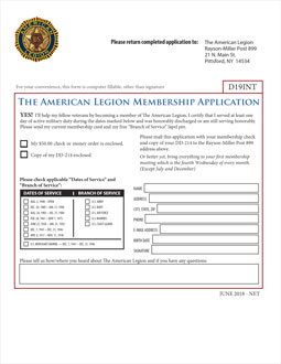 American Legion, Rayson-Miller Post 899 Application form